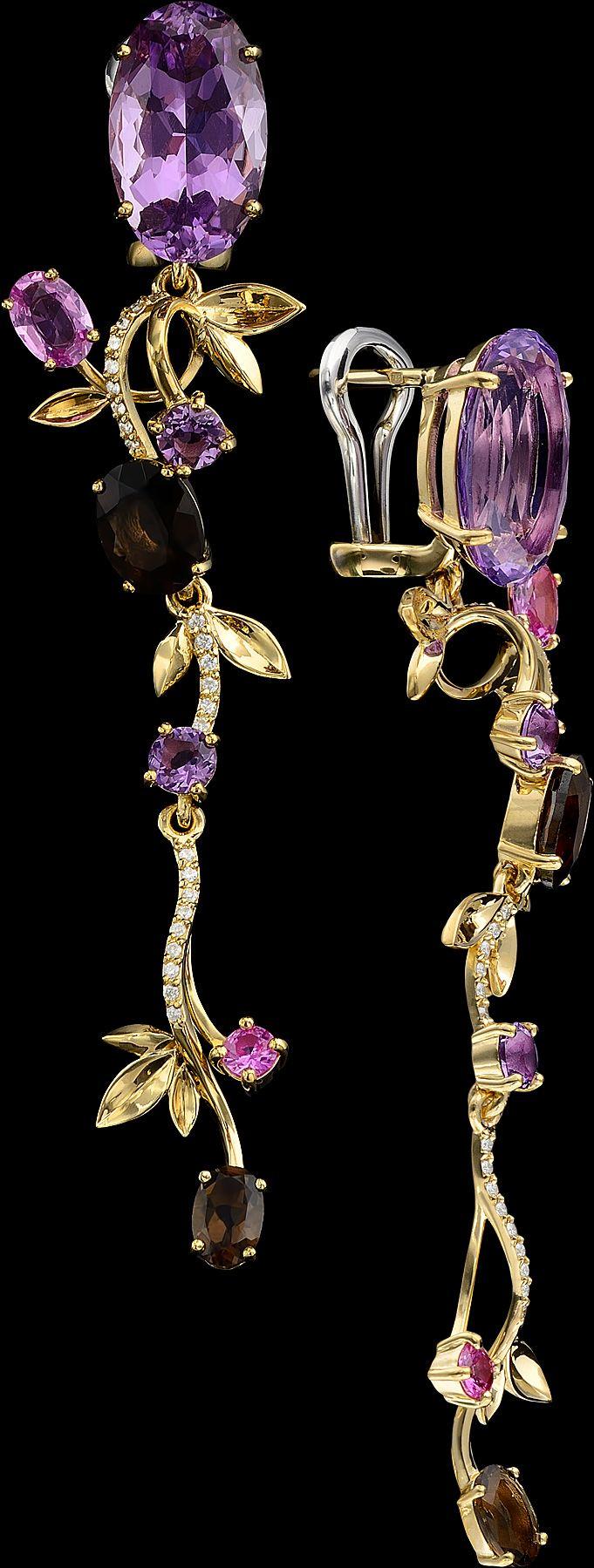 18K Diamond & Sapphire Earrings: