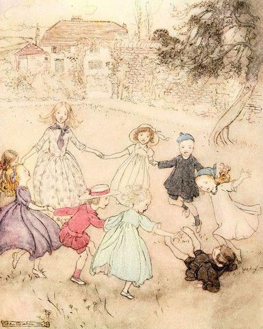 Small Framed Print: Arthur Rackham's Nursery Rhymes, Ring a ring-o-ros – Tales for Tadpoles