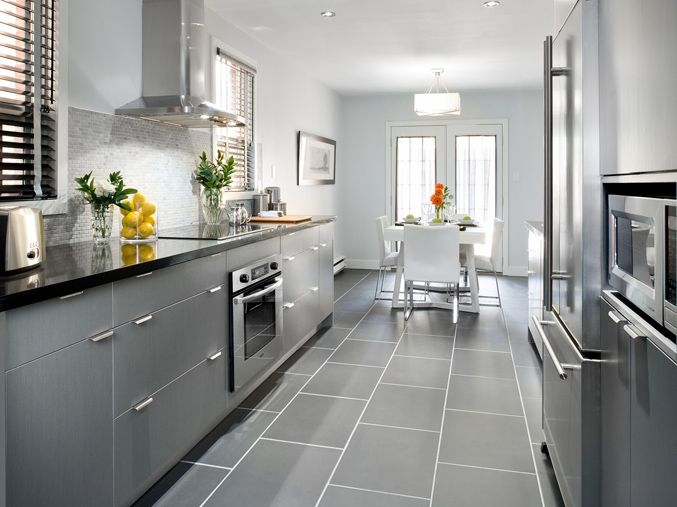 in our narrow galley kitchen slightly bigger than 7 x 8 should we place our 12x24 tile ho on kitchen ideas gray id=19927