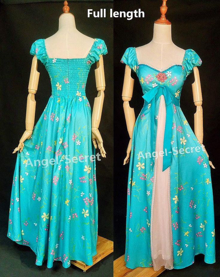 J230 women curtain dress Giselle cosplay Enchanted TEAL DISNEY PRINCESS - Thumbnail 1