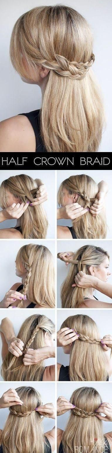 Half Crown Braid-(One braid on each side, tucked under each other)