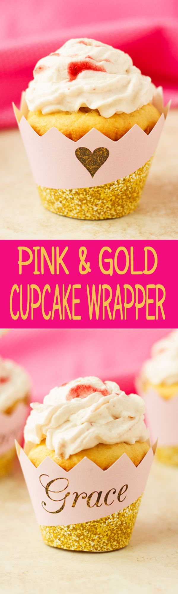 Pink and Gold Cupcake Wrapper - Gold Cupcake Wrapper - Pink and Gold Cupcake Liner - Personalized Cupcake Wrappers by Ilona's Design on Etsy I /ilonaspassion/