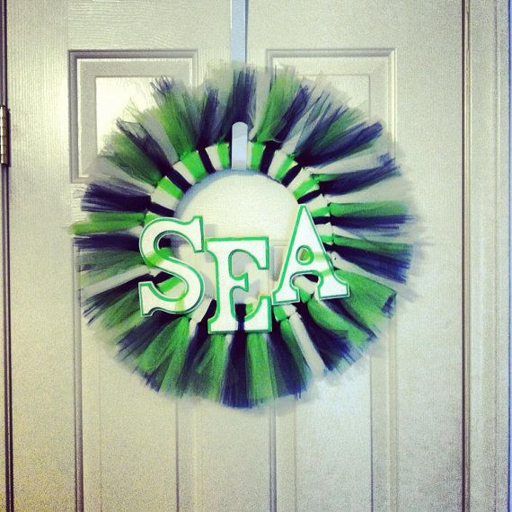 wreath tulle wreath seahawks seattle home decor by threekidscrafts 3500