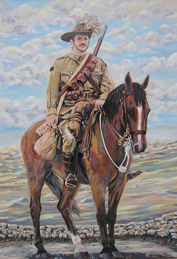 Ww1 Lighthorse At Beersheba Painting  - Ww1 Lighthorse At Beersheba Fine Art Print