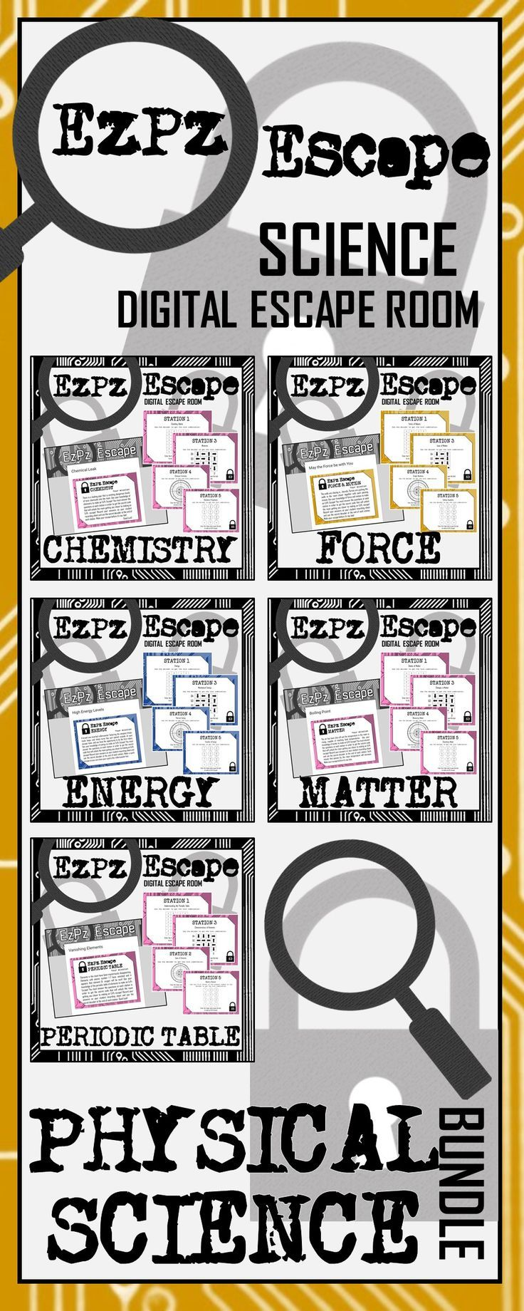 Best 25 chemistry periodic table ideas on pinterest periodic physical science escape room bundle gamestrikefo Images