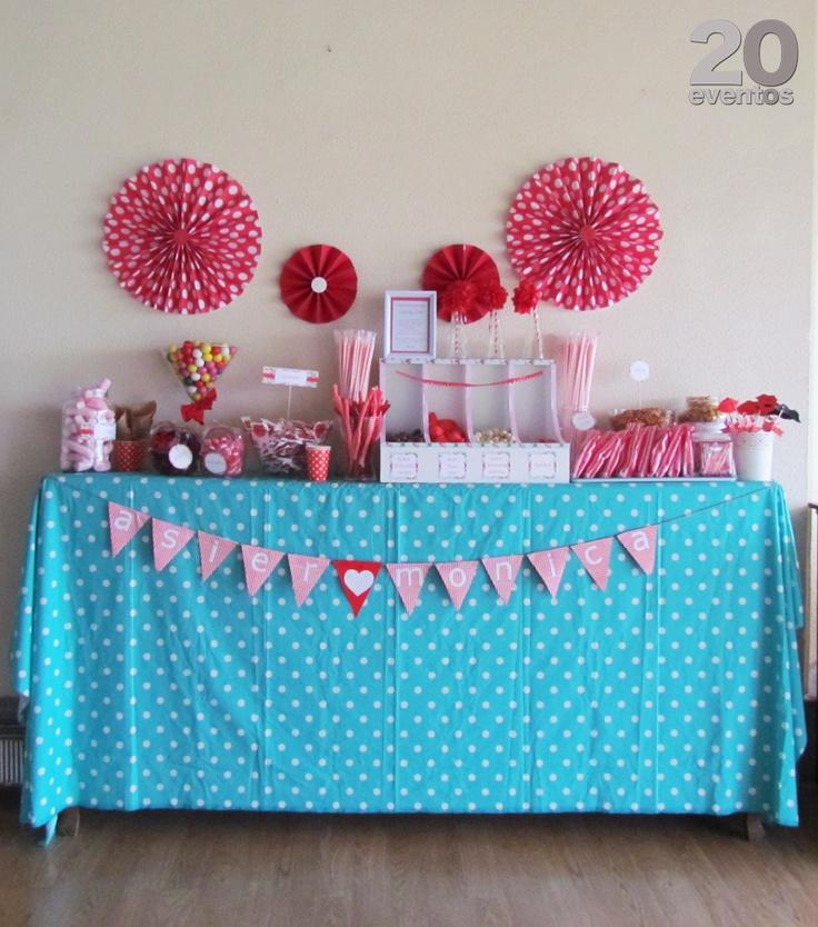 Candy bar turquesa y rojo