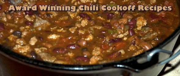 This is a popular chili recipe that has won or placed in many chili cookoffs at work, in my neighborhood, and at tailgate parties! This recipe has been called the world's greatest best tasting chil...