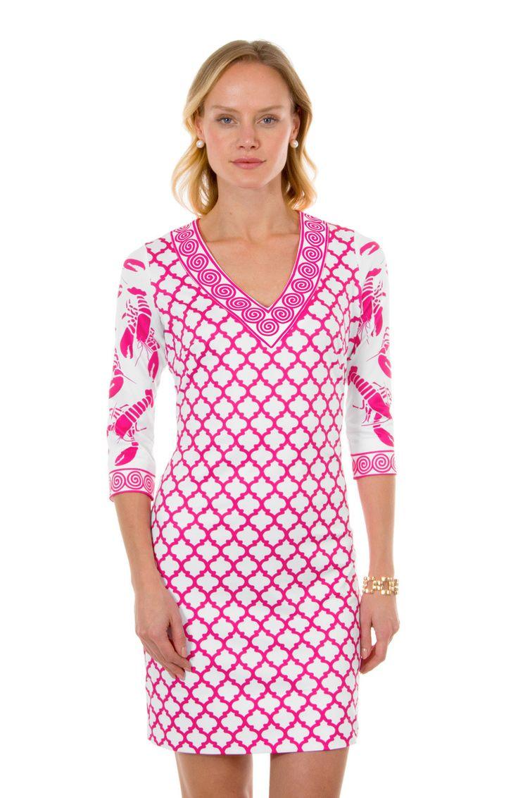 Gretchen Scott Lobster Soup V-Neck Jersey Dress In Pink