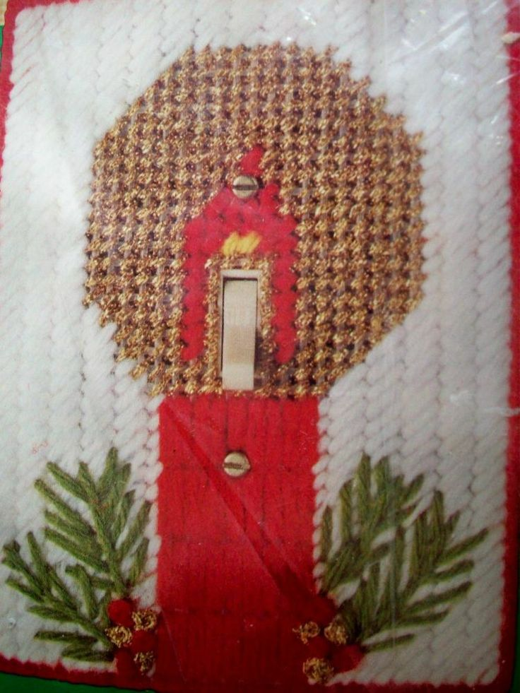 Christmas candle light switch plate cover plastic canvas