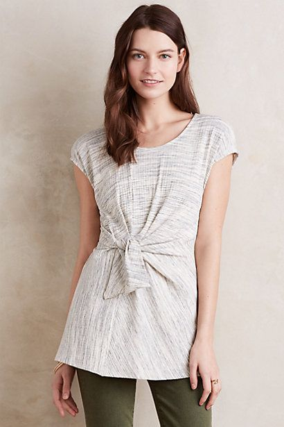 Heathered Tie-Front Tunic #anthropologie Love the waist accent