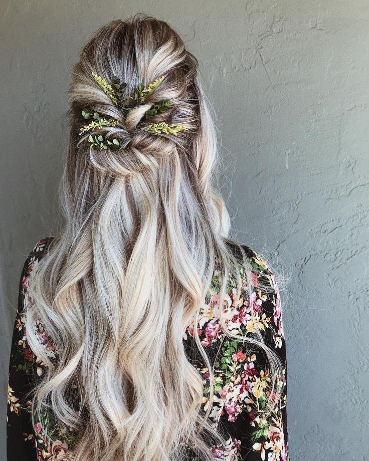 Braids half up down hairstyle, boho hairstyle, updo, wedding hairstyles #h
