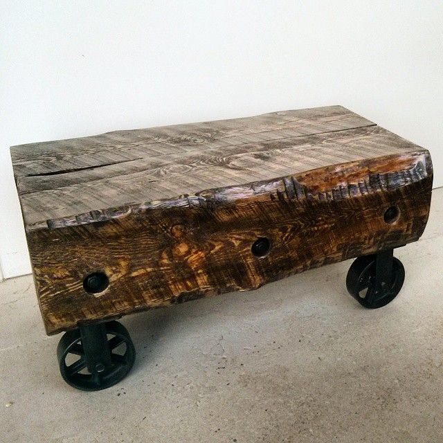 Custom Made Coffee Table With Iron Industrial Wheels