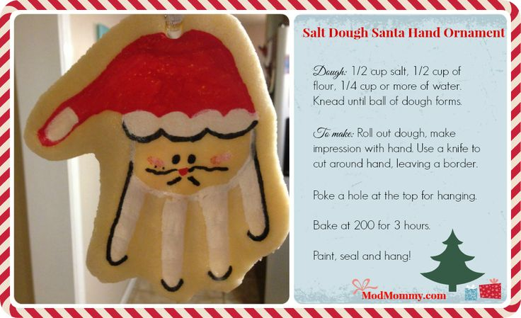 How To Make Sour Dough Christmas Decorations : Best ideas about santa hand ornament on