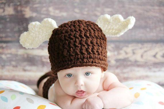 CROCHET Winter Brown MOOSE Beanie Hat Boy or Girl by thebabypea, $13.50