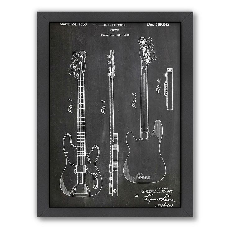 Americanflat ''Fender Bass Guitar'' Framed Wall Art, Multicolor