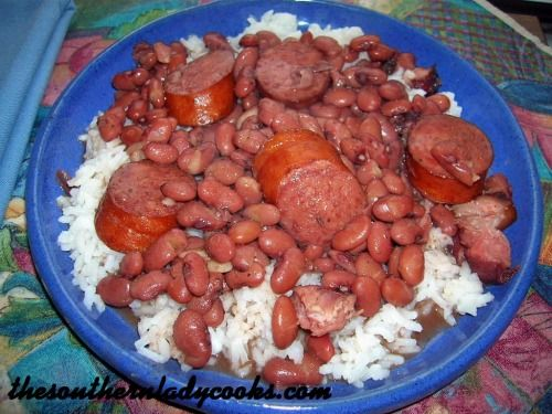 Red beans with hearty slices of smoked sausage served over rice make this delicious dish a favorite in many kitchens. 1 (1 pound) bag dried small red beans8 cups water4 chicken bouillon cubes (can ...