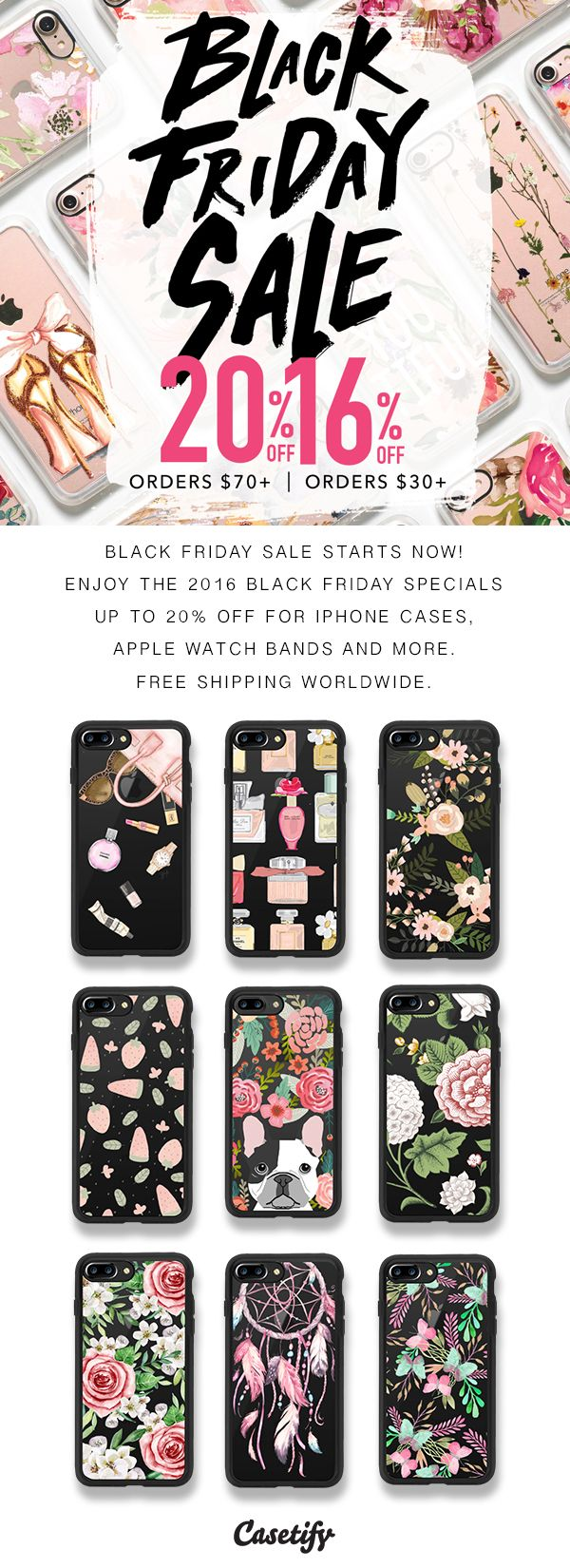 Black Friday Sales starts now. Shop for iPhone 7 Cases, iPhone 7 Plus Cases, Apple Watch Bands and more here > https://www.casetify.com/black-friday#/