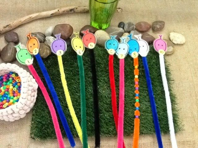 """Counting beads onto 'snake head' pipe-cleaners - from An idea on Tuesday ("""",)"""