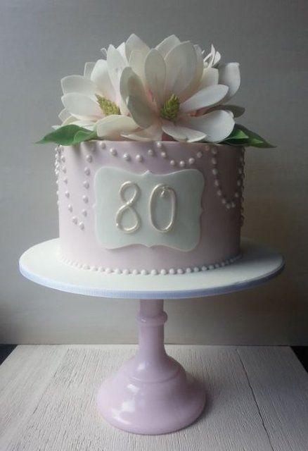 80th Birthday Cake with Sugar Magnolias - by EstherS @ CakesDecor.com - cake decorating website