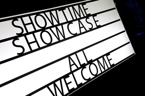 Showtimes light box that can be customised to read anything you wish.  Showtime Events Centre, South Wharf.