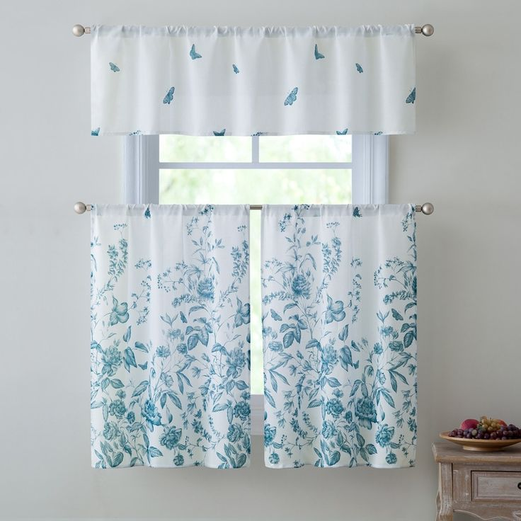 Victoria Estela 3-Piece Kitchen Curtain Set, Teal, Valance 57x15 Inches Tiers 28x36 Inches, Blue (100% Polyester, Floral)