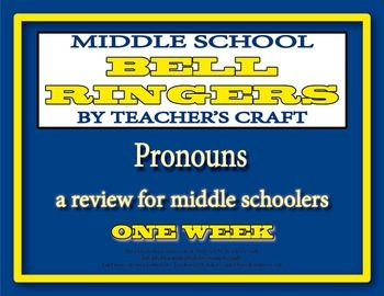 The perfect timesaver for any middle school Language Arts teacher!  Five days of bell ringers for pronouns!!  The activities are scaffolded, with the first day being an introduction and the last day being an assessment piece.  Grade the first four for completion and the last one for correctness!