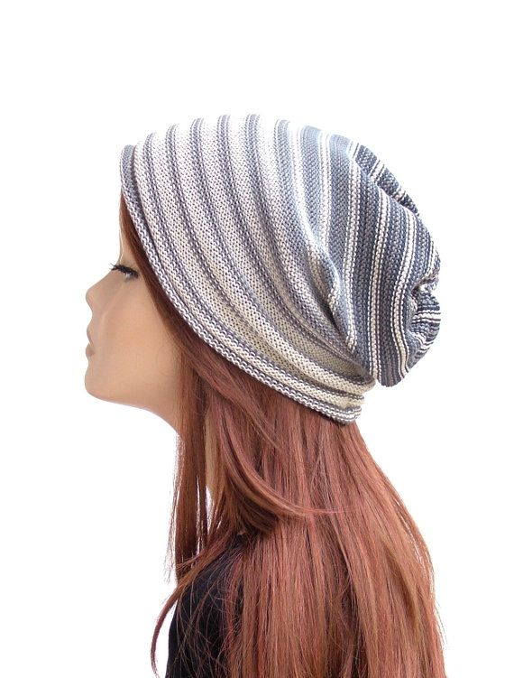 Cotton knit slouchy beanie in grey, beige and off-white by rukkola on Etsy #cottonbeanie #cottonhat #slouchybeanie