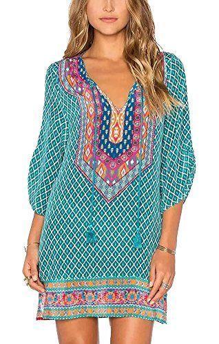 808838c23900 Amazon -  18 - 2018 resort fashion! Women Bohemian Neck Tie Vintage Printed  Ethnic Style Summer Shift Dress. Teal