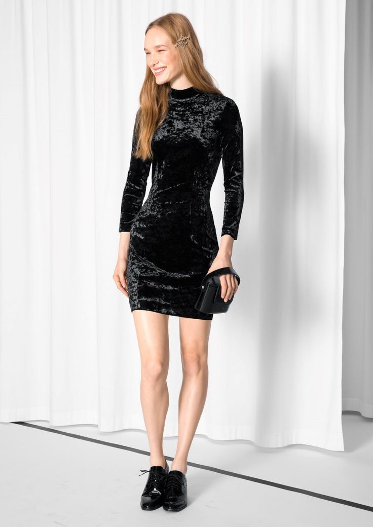 & Other Stories image 1 of Turtleneck Velvet Dress  in Black
