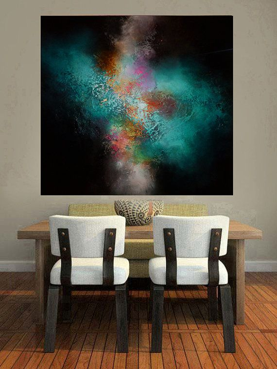"Large Canvas Abstract Painting by Artist Simon Kenny "" Inception"""