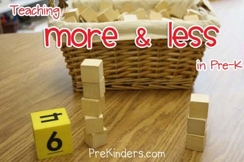 Block Building Game  Children roll a game die, determine the amount, and count out that many wooden cubes to stack into a tower. The die is rolled again to make a second tower. The children compare the towers to see which has the most, least, or same amount