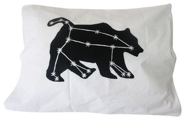 Pillowcase, Ursa Major Constellation Print In Black On White Standard Pillowcase contemporary-bed-pillows-and-pillowcases