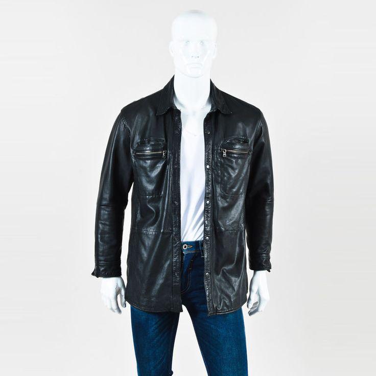MENS John Varvatos Black Lambskin Leather Long Sleeve Buttoned Jacket SZ L | Clothing, Shoes & Accessories, Men's Clothing, Coats & Jackets | eBay!