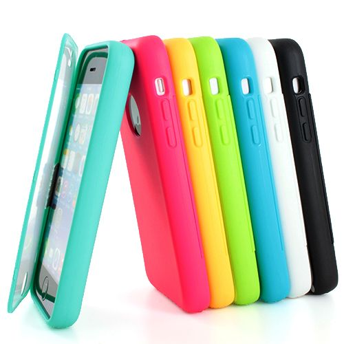 For Apple iPhone 5c Colorful TPU Wrap Up Case Cover w Built in Screen Protector   eBay