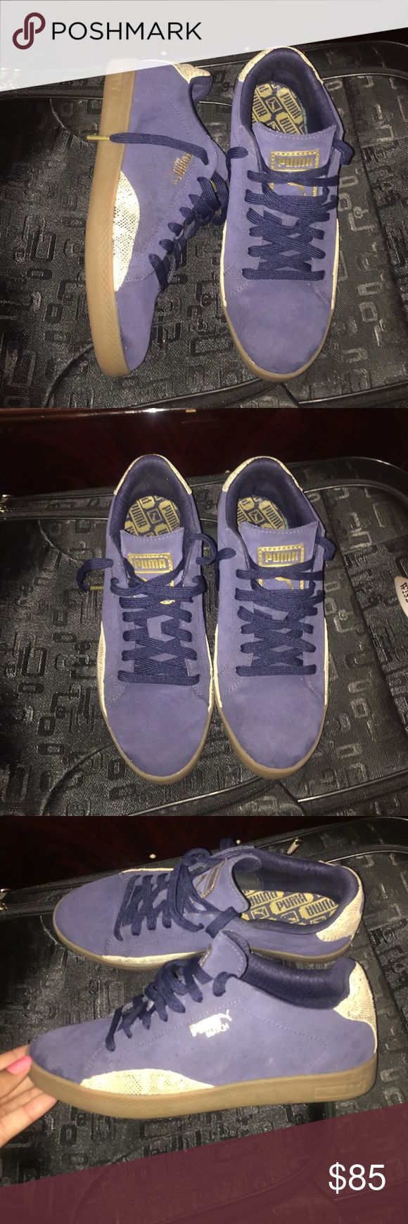 Navy Puma Sneakers New! Only worn a few times. Bottom of shoes are also clean. SIZE 8.5 in womens. NO shoe box included. Puma Shoes Sneakers