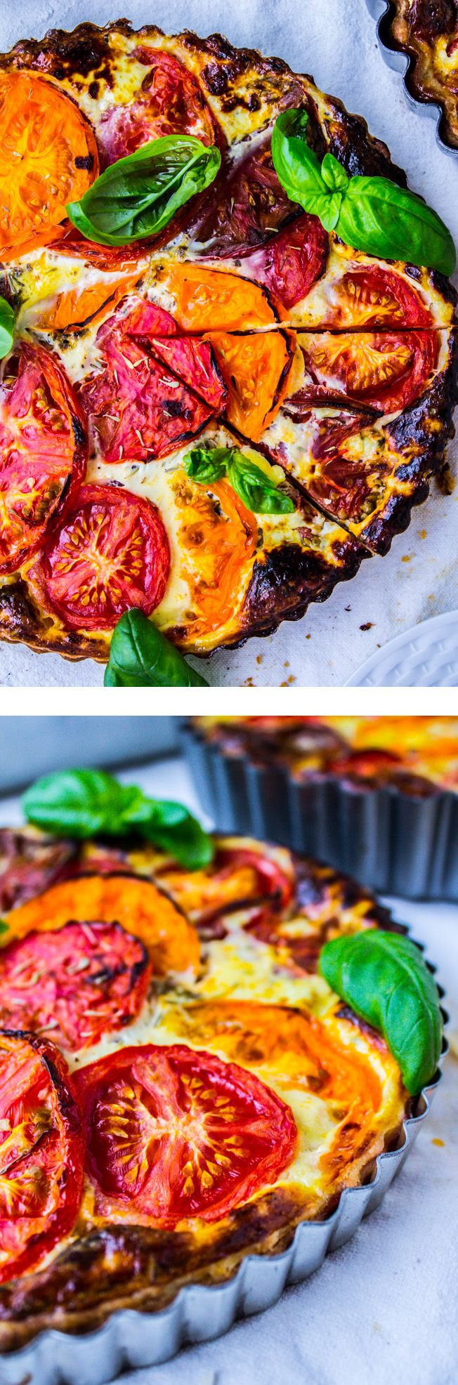 Tomato Tart with Blue Cheese - The perfect ratio of a buttery crust to quiche-like filling. Tasty way to use up summer heirlooms for breakfast brunch or dinner!