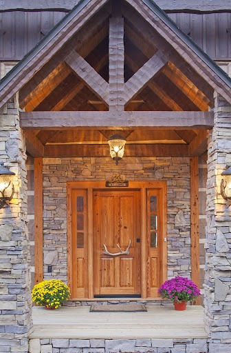 28 best images about rustic front porches on pinterest for Log house doors