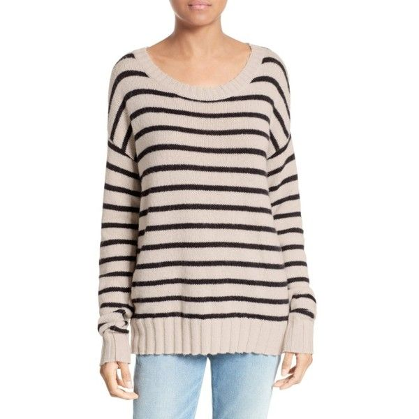 Women's A.l.c. Rowan Stripe Cotton Blend Sweater ($285) ❤ liked on Polyvore featuring tops, sweaters, slouch sweater, a l c sweater, pink striped sweater, slouchy tops and pink sweater