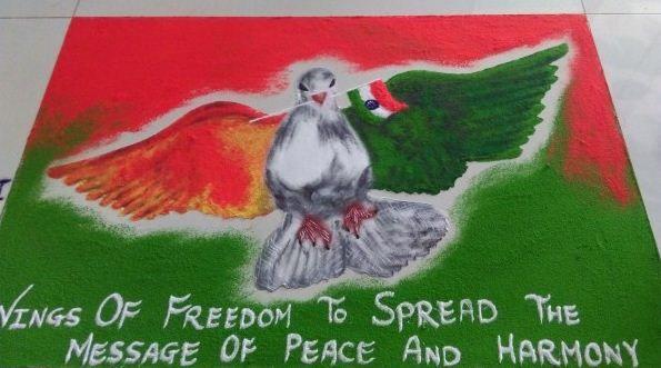 Republic Day Rangoli Designs with Message
