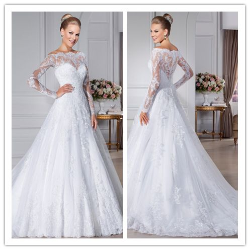 dress bridemaid Picture – More Detailed Picture about Tull Lace Long Sleeve A Line White V ...