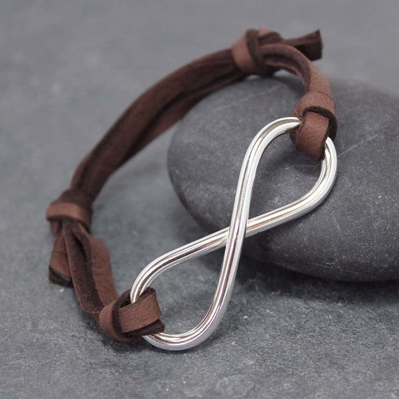 Masculinity INFINITY BRACELET Adjustable Leather by RoyalCountess