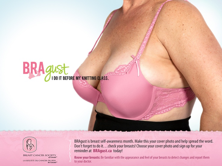 BRAgust GRANNY BRA:   Make this photo your Facebook cover photo for the month of BRAgust to promote breast cancer awareness.  Sign up for your breast self exam reminder at www.bragust.ca