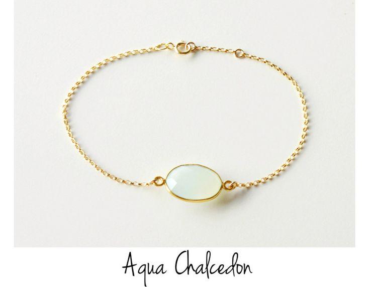 Pastels:+Aqua+Chalcedon+Armband+vergoldet++von+miaundmartha++auf+DaWanda.com