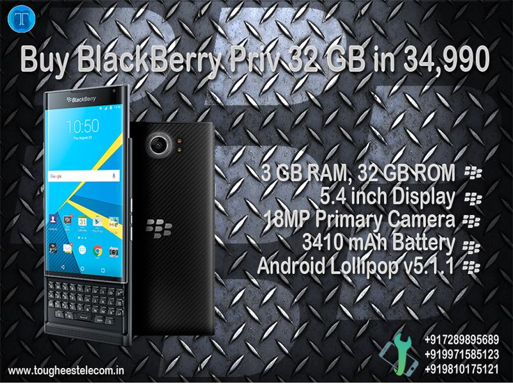 Buy BlackBerry Priv Black, 32 GB in 34,990  BlackBerry PRIV Smartphone is sleek in design and powerful in terms of performance. The BlackBerry mobile phone has a 5.4 inch capacitive touch screen which comes with a 540 ppi pixel density along with a resolution value of 2560x1440 pixels. It has navigation for all-touch screen along with in-built gestures. It has stunning features which include auto-correction text, prediction of next-word and along with that dedicated keys for power OFF/ON…
