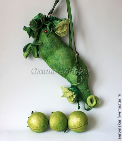 """Арт-рюкзак войлочный """"Зеленый горошек"""" - зелёный,лето,горох,детство,отпуск"""