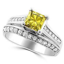 Princess Cut Matching Canary Yellow Diamond Engagement Ring Set