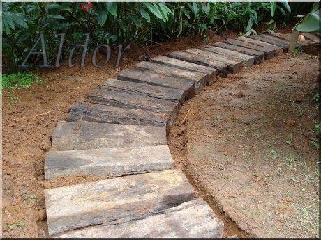www.fa-kertibutor.eoldal.hu - Képgaléria - kerti lépcső, kerti út antik fából, bontott vasúti talpfákból