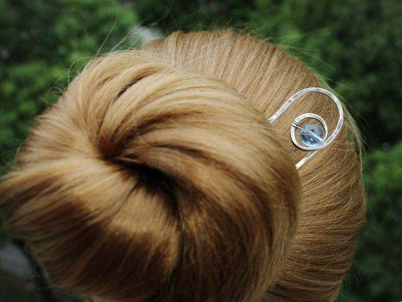 Silver Hair Bun Cuff Nickel Silver Hair Bun Holder with Hair Fork Gift Women