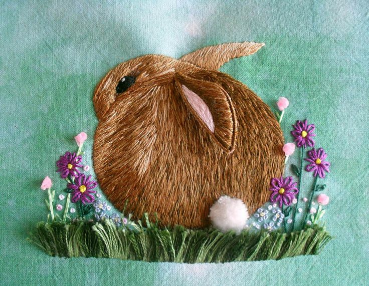 stumpwork embroidery | Worked using the 'Cottontail' in 'The A-Z of Stumpwork' as a pattern.