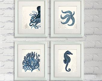 Nautical Bathroom wall art - Set of 4 blue nautical art prints - Blue Underwater 3 - Bathroom decor Bathroom humor Kid bathroom décor ocean